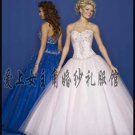 Sexy Ball Gown Prom/Ball/Evening strapless white blue WeddingDress Custom Size  voile&satin W003-6