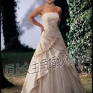Sweet A-Line Princess Strapless Cathedral Train Organza wedding dress for brides Custom Size W003-19