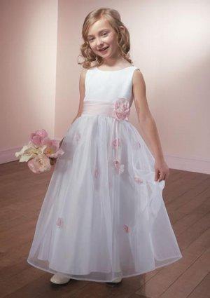 A-line Bateau Floor-Length Satin Flower Girl Dress Custom Size WG003-9