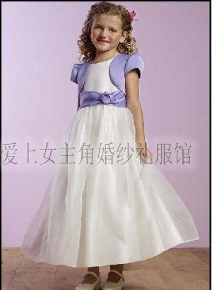 A-line Round-neck Knee-Length Organza Flower Girl Dress Custom Size WG003-11