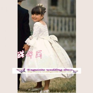A-line Around-neck Knee-Length Flower Girl Dress Custom Size WG004-10