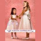 A-line Around-neck Knee-Length Organza Flower Girl Dress Custom Size WG004-11