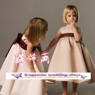 A-line Around-neck kness-Length Satin Flower Girl Dress Custom Size WG004-13