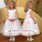 A-line Around-neck kness-Length Organza Flower Girl Dress Custom Size WG004-14