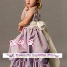 A-line Square-neck kness-Length Satin Flower Girl Dress Custom Size WG004-22