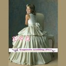 A-line Around-neck floor-Length Satin Flower Girl Dress Custom Size WG004-24