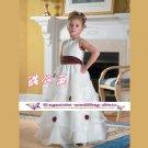 A-line Around-neck kness-Length Organza Flower Girl Dress Custom Size WG004-34