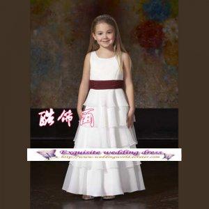 A-line Around-neck kness-Length Flower Girl Dress Custom Size WG004-37