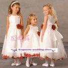 A-line Around-neck kness-Length Organza Flower Girl Dress Custom Size WG004-47