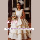 A-line Around-neck floor-Length Satin Flower Girl Dress Custom Size WG004-56