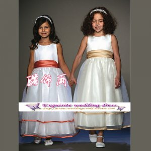 A-line Around-neck kness-Length Organza Flower Girl Dress Custom Size WG004-64