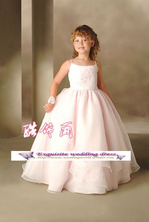 A-line Spagetti Straps tea-Length Organza Flower Girl Dress Custom Size WG004-68