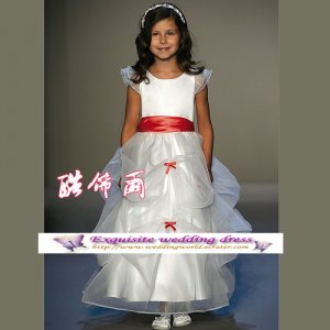 A-line Around-neck tea-Length Organza Flower Girl Dress Custom Size WG004-70
