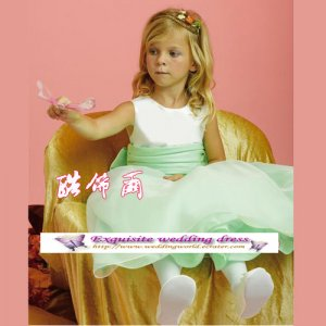A-line Around-neck kness-Length Organza Flower Girl Dress Custom Size WG004-76
