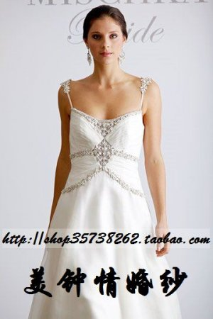 New sexy A-Line/Princess strapl white WeddingDress Custom Size  voile&satin W002-95