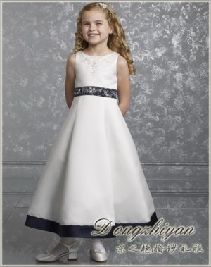 A-line Round-neck tea-length Satin Flower girls Dress Custom Size WG005-10