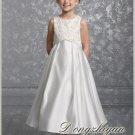 A-line Round-neck kness-length Satin Flower girls Dress Custom Size WG005-23