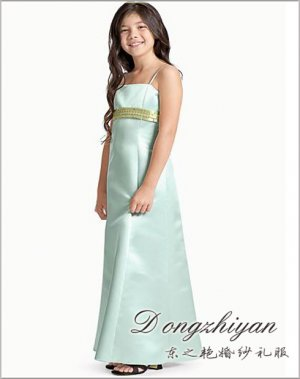 A-line Spagetti straps tea-length Satin Flower girls Dress Custom Size WG005-26