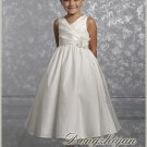 A-line V-neck kness-length Satin Flower girls Dress Custom Size WG005-27