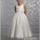 A-line V-neck kness-length Satin Flower girls Dress Custom Size WG005-27