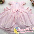 A-line Round-neck kness-Length pink Satin Flower Girl Dress WG006-4