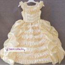 A-line Round-neck kness-Length beige satin Flower Girl Dress WG007-3