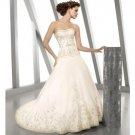 A-Line/Princess Strapless Chapel Train Organza wedding dress for brides 2010 style(WDE0112)