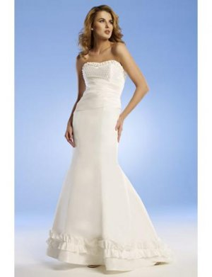 Mermaid Strapless Chapel Train Satin wedding dress for brides 2010 Style(WED0053)