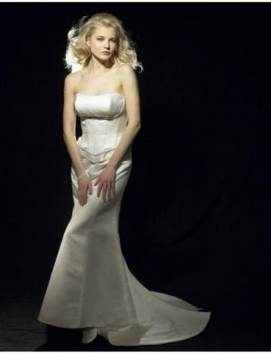 Mermaid Strapless Chapel Train Satin wedding dress for brides 2010 style(WDA0596)