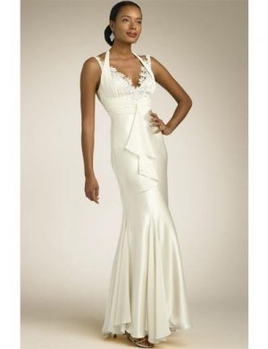 Mermaid Halter Top Floor-length Satin wedding dress for brides 2010 style(2009cwd0661)
