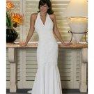 Mermaid V-Neck Chapel Train Satin wedding dress for brides 2010 style(WDA0157)