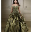 Ball Gown Off-the-shoulder Floor Length Satin wedding dress for brides 2010 style(WDE0174)