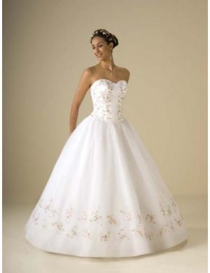 Ball Gown Strapless Floor Length Organza wedding dress for brides 2010 style(WDA0328)