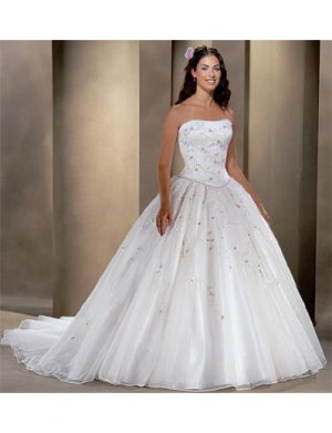Ball Gown Strapless Cathedral train Organza wedding dress for brides 2010 style(WDA0075)