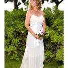 Column/Sheath spaghetti straps Sweeping Train Chiffon wedding dress for brides 2009 Style(WD0006)