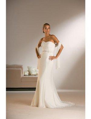 Column/Sheath Strapless Chapel Train Chiffon wedding dress for brides 2010 Style(WDS0230)