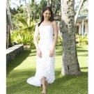 Column/Sheath Strapless Tea-length Train Satin wedding dress for brides 2010 style(WD0018)