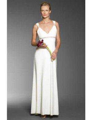 Column/Sheath Halter Top Sweep Train Satin wedding dress for brides 2010 style(WDA0692)