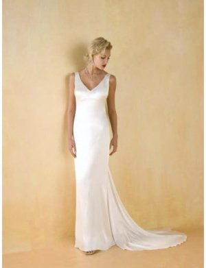 Column/Sheath V-neck Chapel Train Satin wedding dress for brides 2010 style(WDA0527)