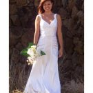 Empire V-Neck Sweep Train Satin wedding dress for brides 2010 style(WD0023)