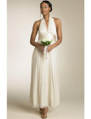 Empire Halter Top Tea-Length Chiffon wedding dress for brides 2010 style(WDA0670)