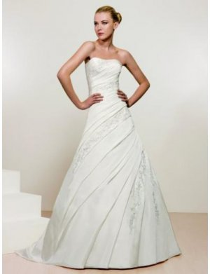 A-Line/Princess Strapless Chapel Train Satin wedding dress for brides 2010 Style(WDS0108)