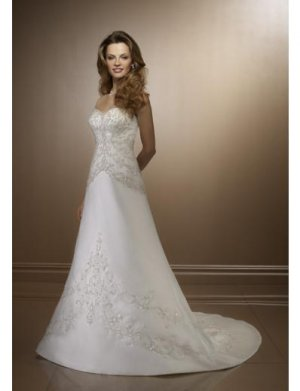 A-Line/Princess Sweetheart Chapel Train Satin wedding dress for brides 2010 style(WDE0127)