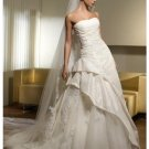 A-Line/Princess Strapless Chapel Train Organza wedding dress for brides 2010 Style(WDS0216)