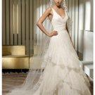 A-Line/Princess V-neck Chapel Train organza wedding dress for brides 2010 Style(WDS0047)