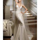 A-Line/Princess V-neck Chapel Train Satin wedding dress for brides 2010 Style(WDS0048)