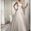 A-Line/Princess Strapless Chapel Train Satin wedding dress for brides 2010 Style(WDS0054)