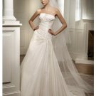 A-Line/Princess Strapless Chapel Train Satin wedding dress for brides new Style(WDS0051)
