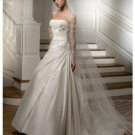 A-Line/Princess Strapless Chapel Train Satin wedding dress for brides new Style(WDS0053)