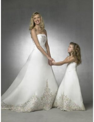 A-line Spaghetti Straps Floor Length Satin Flower girls Dress new style(FGD0070)
